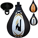 RDX Leather Boxing Speed Bag MMA Double End Ball Swivel Punching Workout Training