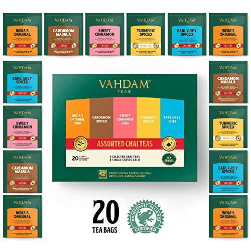 VAHDAM, surtido té Chai 5 tés, 4 bolsitas té pirámide