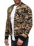 Red Bridge Herren College Jacke U.S Army Sweatjacke mit Patches Camouflage M6060 Grün L