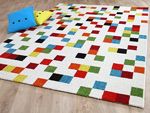 Designer Teppich Funky Pixel Weiß Bunt in 4 Größen - Funky Designer