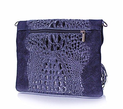 Echt Leder Damentasche Kroko Optik Pochette Umhängetasche Wildleder Schultertasche (dunkelgrün) blau