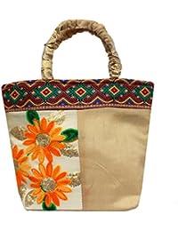 Milan's Creation: Ethnic Silk HandBag Kashmiri Floral Embroidery With Velvet Handles Clutch Wedding Bag Party...