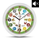 ONETIME Kinderwanduhr (Ø) 30,5 cm Kinder Wanduhr mit lautlosem Uhrenwerk und farbenfrohen Tieren -...