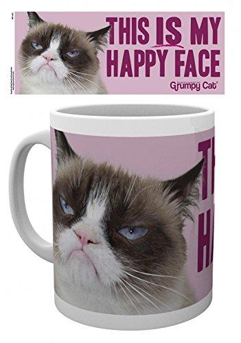 Gatti - Grumpy Cat, Happy Face Tazza Da Caffè Mug (9 x 8cm)