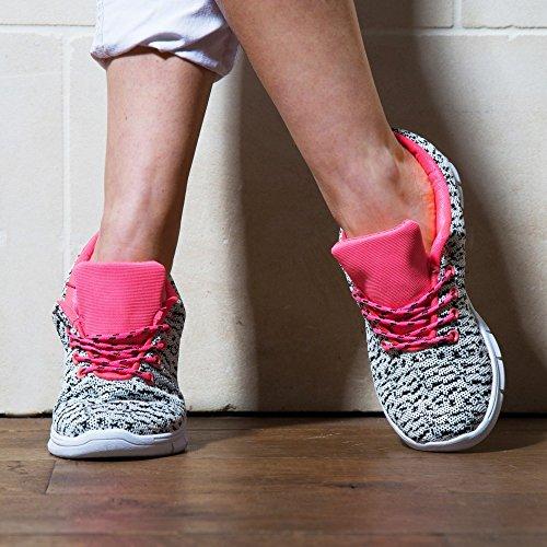 Ideal Shoes–Basket Stile Running stampato serinica Bianco