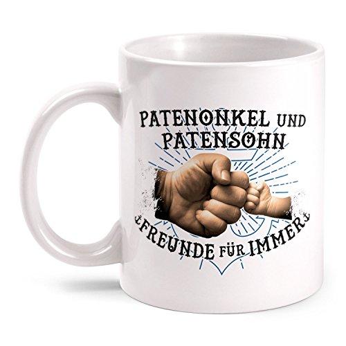 Fashionalarm Tasse Patenonkel & Patensohn - Freunde für immer - beidseitig bedruckt mit Spruch Anker Motiv | Geburtstag Geschenk Idee Paten Kind, Farbe:weiß