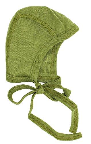 Cosilana Baby Häubchen aus 70% Wolle und 30% Seide kbT, Farbe Grün, Größe 62/68 (Baby-häubchen)