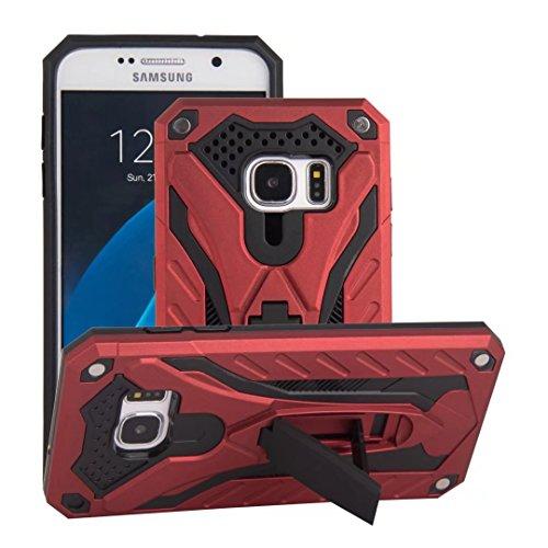 EKINHUI Case Cover Neuer stilvoller hybrider Rüstungs-schützender Abdeckungs-Fall Shockproof Doppelschicht PC + TPU rückseitige Abdeckung mit Kickstand für [Schock-Absorbtion] für Samsung-Galaxie S7 ( Red