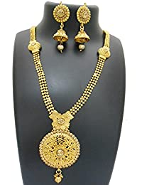 My Design Beautiful Bridal Gold Plated Necklace Set For Women And Girls