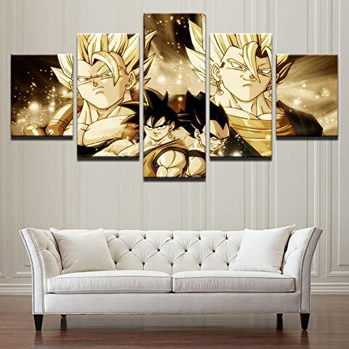 WYCQT Leinwanddrucke 5 Stücke Anime Dragon Ball Z Vegeta Gogeta Poster Moderne Wohnzimmer Wohnkultur Wandkunst Größe B (Poster Ball Dragon Z Große)