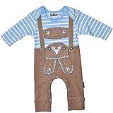 P.Eisenherz Baby Strampler Lederhose braun hellblau 68