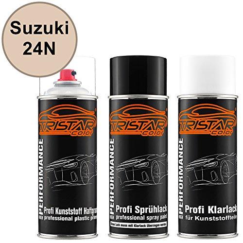 TRISTARcolor Autolack Spraydosen Set für Kunststoff Stoßstange Suzuki 24N Mont D'Or Beige...