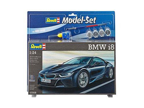 Preisvergleich Produktbild Revell Modellbausatz Auto 1:24 - BMW i8 im Maßstab 1:24, Level 4, originalgetreue Nachbildung mit vielen Details, , Model Set mit Basiszubehör, 67008