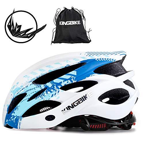 KING BIKE Fahrradhelm Helm Bike Fahrrad Radhelm FüR Herren Damen Helmet Auf Die Helme Sportartikel Fahrradhelme GmbH RennräDer Mountain Schale Mountainbike MTB (Blau Weiss, L(56-60CM))