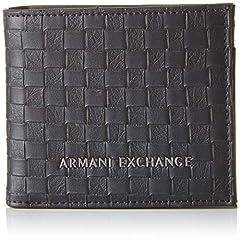 Idea Regalo - ARMANI EXCHANGE Logo Coin Case - Portafogli Uomo, Nero (Black Check), 9x1x11 cm (B x H T)
