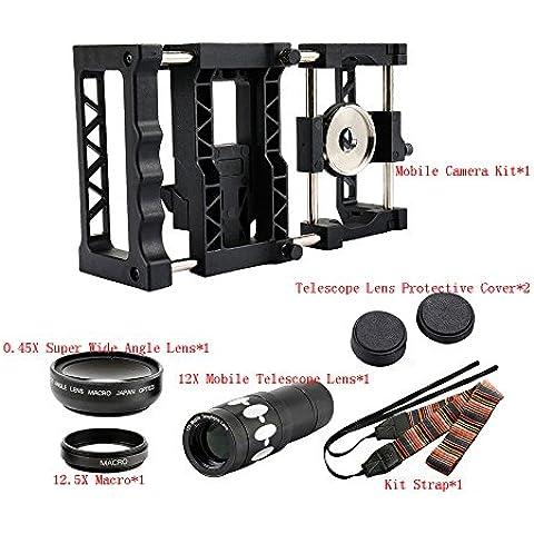 Elecguru Pro Universale per Smartphone Fotocamera Rig Supporto fotocamera con obiettivo grandangolare e obiettivo macro e 12x custodia tlelscope