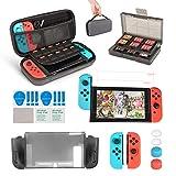 innoAura 11 en 1 Kit accesorios para Nintendo Switch, con funda de transporte, Estuche De Juegos, funda de TPU, fundas para controles Joy Con, tapas para Joystick y protector de pantalla