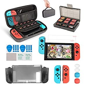 innoAura 11 in 1 Zubehör Set die Nintendo Switch , Tragetasche, Game Card Slot Halter, TPU Cover, Joy-Con Covers, Thumb…