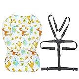 Kinderwagen/Hochstuhl Sitzkissen Liner Mat Pad Cover Resistant und Hochstuhlgurte (5-Punkt-Auffanggurt) 1 Anzug (Tier)