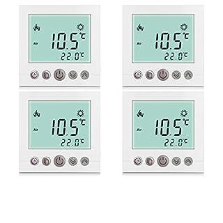4x Excelvan® Thermostat Heizung Raumthermostat Programmierbar heizkörperthermostat Wandthermostat Smart Digital Heizungsthermostat für elektrische Fußbodenheizungmit LDC Display