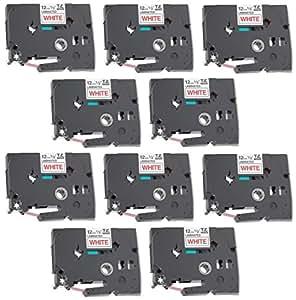10 x Ruban Etiquette compatible pour Brother P-Touch TZe232 / TZ232 rouge sur blanc | 12mm x 8m