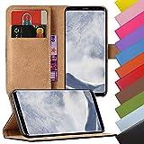 EximMobile - Book Case Handyhülle für Samsung Galaxy Alpha in Schwarz mit Kartenfächer | Schutzhülle aus Kunstleder | Handytasche als Flip Case Cover | Handy Tasche | Etui Hülle Kunstledertasche