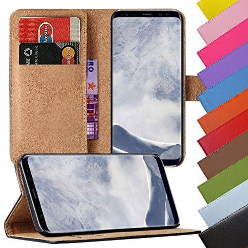 EximMobile - Book Case Handyhülle für Samsung Galaxy Ace 4 in Schwarz mit Kartenfächer | Schutzhülle aus Kunstleder | Handytasche als Flip Case Cover | Handy Tasche | Etui Hülle Kunstledertasche