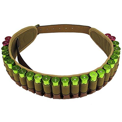 tourbon caza 20GA/12GA Shotshell Canana–Cinturón para cartuchos de munición (tela y piel, 12 Gauge Shotshell Belt