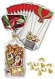 Bodenbeutel 'Weihnachten' 120 x 275 mm, 10 Stück mit Clips und Kartonboden, Weihnachtsbeutel, Gebäcktüten