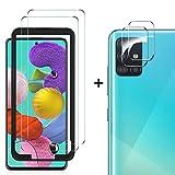 MSOVA Vetro Temperato per Samsung Galaxy A51 Pellicola+Proteggi Lenti per Fotocamera [Durezza 9H] [Nessuna Bolla] Alta Trasparente Protezione Schermo Adatto per Samsung Galaxy A51 (2 Pezzi)