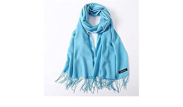 HITSAN INCORPORATION women scarf fashion summer thin solid shawls and wraps  lady pashmina bandana female hijab winter long foulard head scarves sky  blue  ... fddabd99ecf