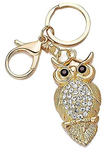 SaySure - Unique Owl Key Chains Rings Holder Rhinestone (Civic Drum)