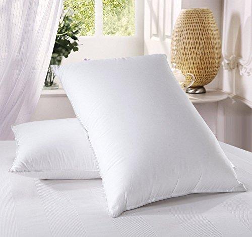 Juego de 2almohadas de plumas de pato de lujo, grande y cómodo Hotel calidad 100% algodón Highliving®