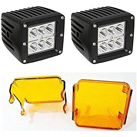 Cree LED Auto offroad 18W luz cubo con Amber Lens cover, Jeep AUTO MOTO BICICLETA Auto Headlight, Auto LED Faro pack de