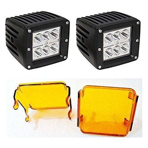 Preisvergleich Produktbild 18W Cube Auto LED Cree Arbeitsscheinwerfer Auto Scheinwerfer Spot Beam fahren Lampe mit Bernstein Objektivschutz für Offroad Truck Auto Motorrad Boot AUX Beleuchtung Leuchtmittel 7,6x 7,6cm (2Stück)