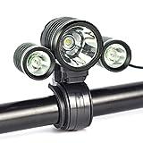 Super Bright 3 Modos T6 L2 LED Bike Luz 2 * 18650mAh / 3000 Lumens Potente faro de bicicleta USB recargable IPX4 impermeable Bike delantero de la cabeza de la luz de desgaste de doble uso luces de la bicicleta