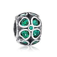 Abalorios de trébol, color verde, de plata de ley 925 con circonia cúbica de Pandora, compatible con pulseras europeas