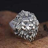 Laogg Bagues réglables S925 Sterling Argent Mode personnalité rétro Argent Thai tête Lion dominateur Cadeaux Bague Homme