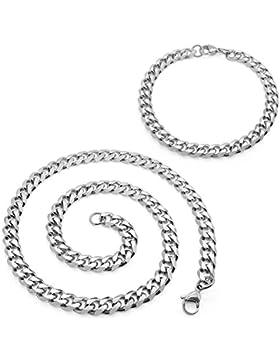 SoulCats® Halskette + Armband Königskette Panzerkette Armkette Edelstahl silber SET