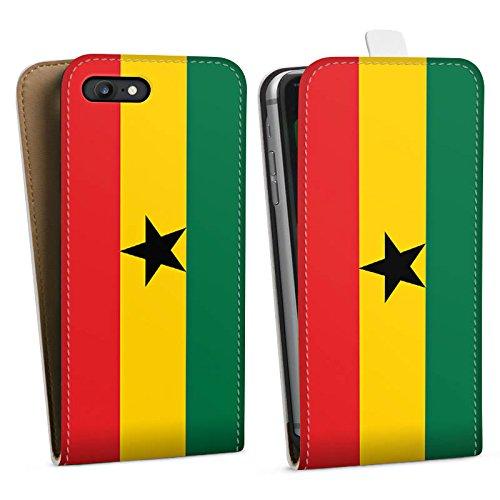 Apple iPhone 6 Silikon Hülle Case Schutzhülle Ghana Flagge Fußball Downflip Tasche weiß
