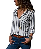 Happy Sailed Womens Striped Long Sleeve Button Down Shirts Pocket