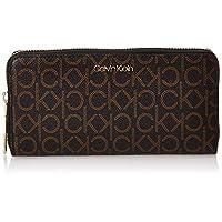 Calvin Klein Zip Around Wallet for Women-Brown Mono