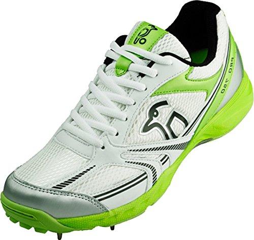KOOKABURRA 750Full Spike professionnel d'entraînement junior Semelle en caoutchouc Chaussures de Cricket White/Green/Silver