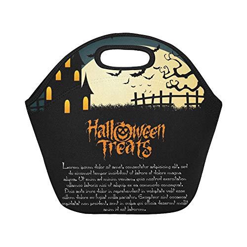 Isolierte Neopren-Lunchpaket Abstract Happy Halloween Special Objects Große wiederverwendbare thermische dicke Mittagessen-Tragetaschen für Lunch-Boxen für im Freien, Arbeit, Büro, Schule (Lunch Specials Halloween)