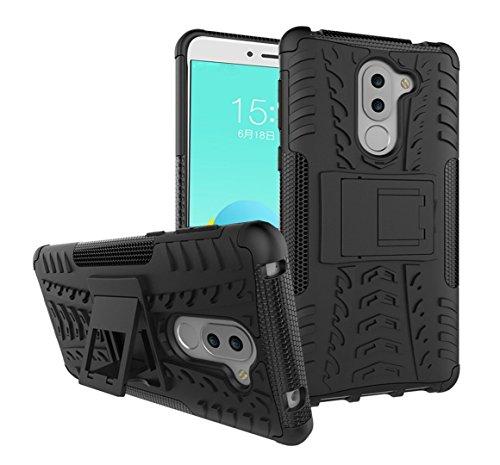 Preisvergleich Produktbild Huawei Honor 6X Hülle, KuGi ® Huawei Honor 6X Hülle - Hochwertige ultra-dünnen TPU + PC Standplatz -Abdeckung Hülle für Huawei Honor 6X-Smartphone.(Schwarz)