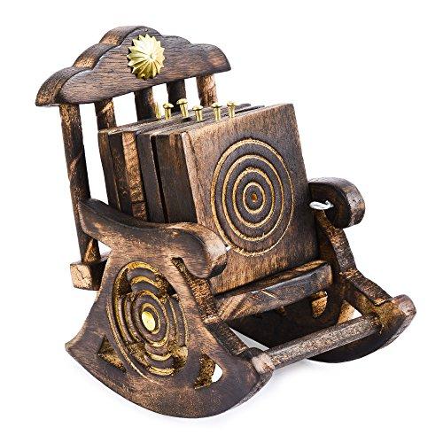 Um Schaukelstühle (rusticity Holz Untersetzer Set von 6mit Schaukelstuhl Halterung für Bier und andere Getränke | handgefertigt | (8,9x 8,9cm))