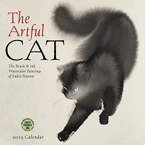 Artful Cat 2019 Wall Calendar: Brush & Ink Watercolor Paintings by Endre Penovac - Anatomie Kalender
