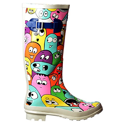Signore Di Onlineshoe Donne Wellie Pianoforte Funky Wellington Festival Pioggia Stivali - Colori Assortiti BLOB Di Multi