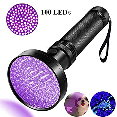 ONIPU UV Flashlight, UV Light 100 LEDs Pet Dog Cat Urine Stains Scorpion Bed Bug Detector Light 395 nm Ultraviolet Black Lights Inspection