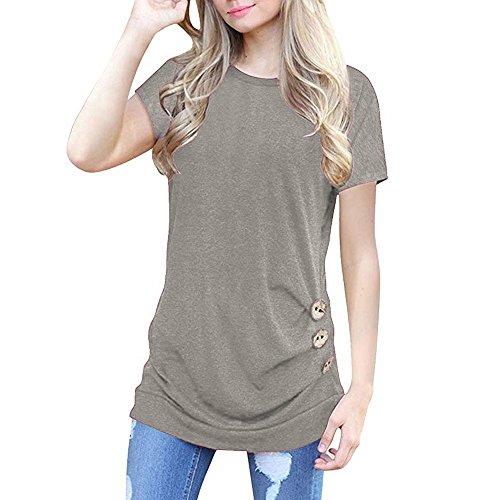 OVERDOSE Damen Kurzarm Lose Knopfleiste Bluse Einfarbig Rundhals Tunika T-Shirt Sommer Oberteil Tops (B-gray,S)